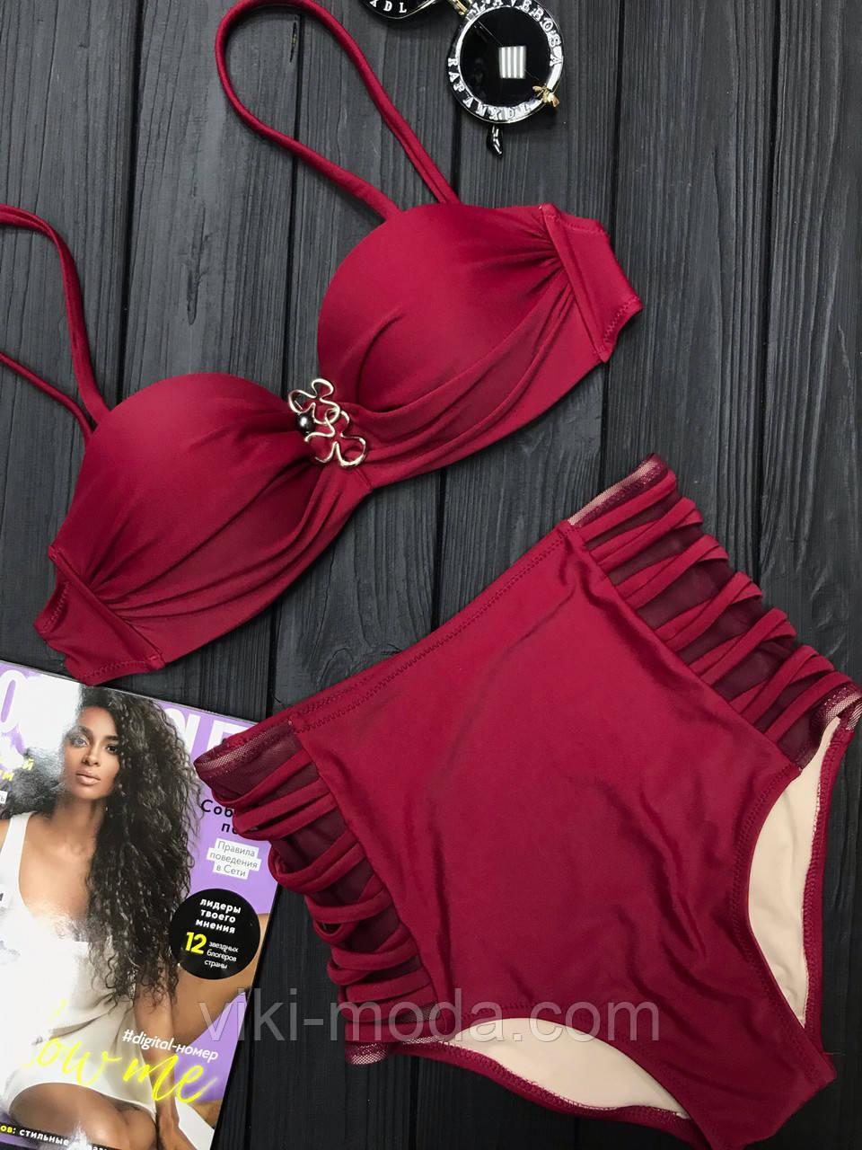 Раздельный женский купальник бордового цвета, в стиле ретро