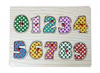 Деревянная игрушка Рамка-вкладыш MD 0646-1 с ручкой, цифры, 29,5-21,5см ( 0646-2)