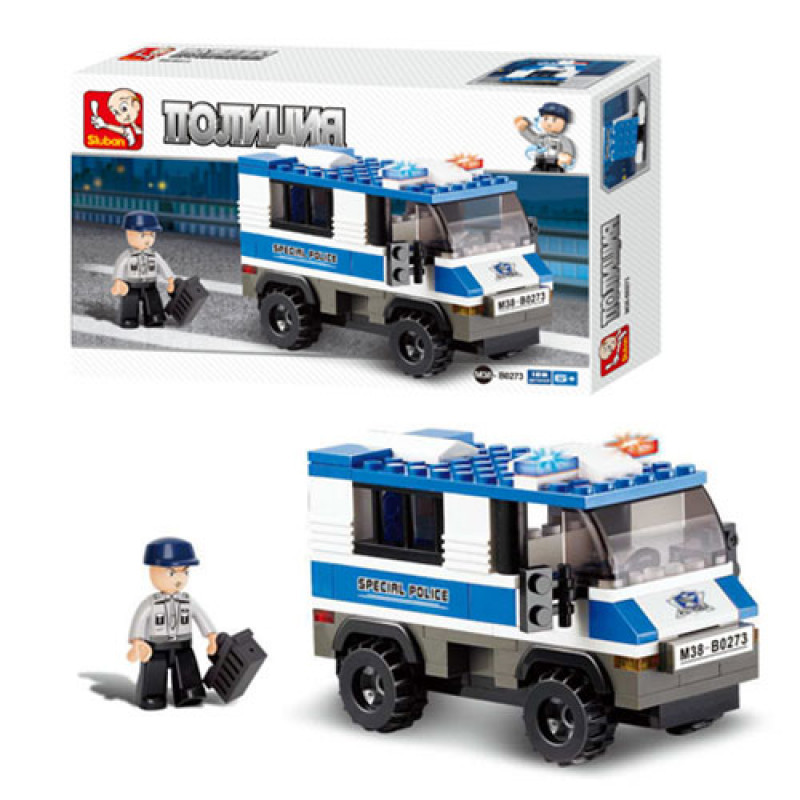 Конструктор M38-B0273 поліція, машинка, фігурка, 126 деталей, в коробці, 24-14-4,5 см