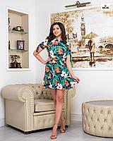 Платье женское летнее короткое свободного кроя с цветами, фото 1