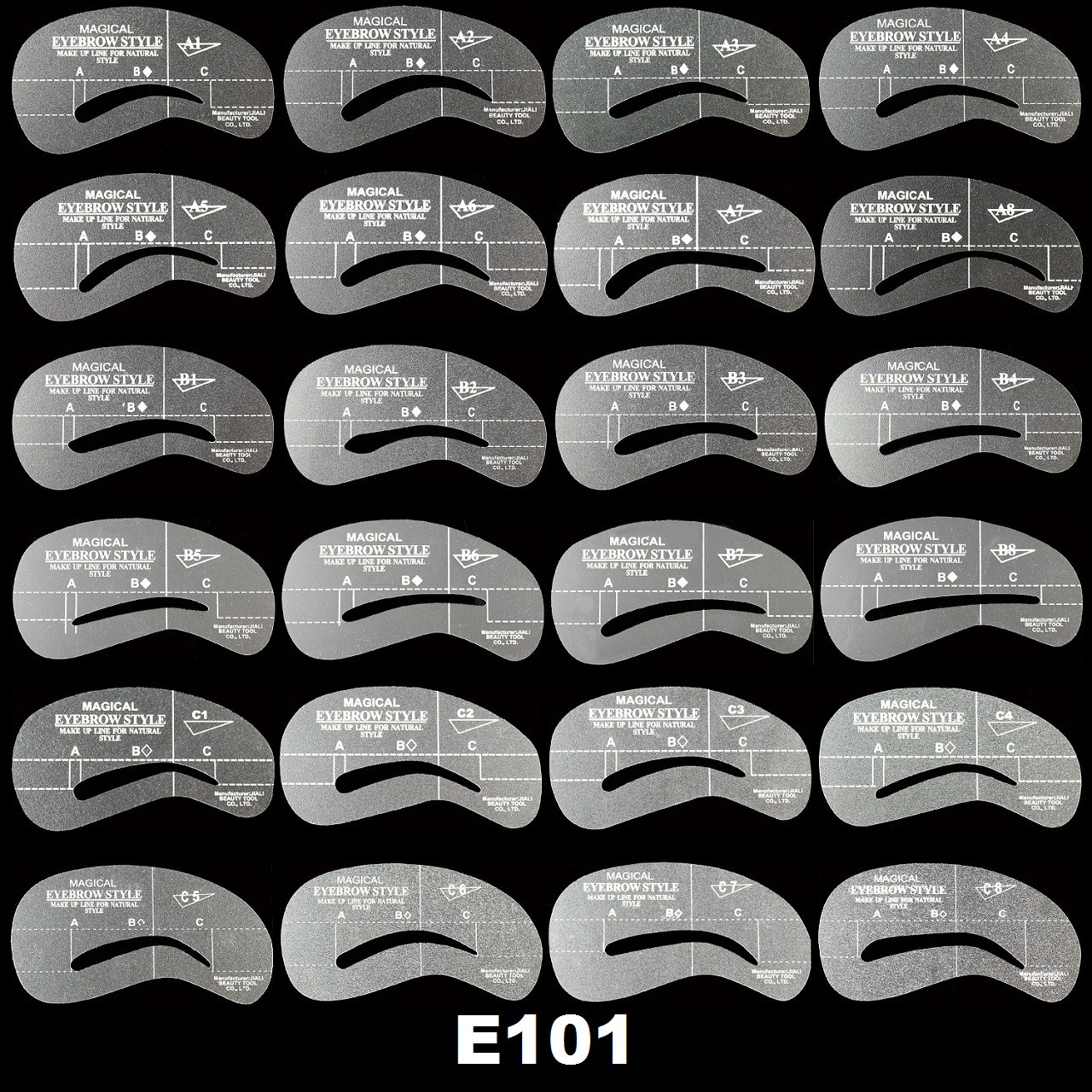 Набор трафаретов для бровей (12 видов) Пластик, 24 формы, До 7 мм
