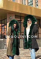 Мама и дочка, парки с мехом чернобурки