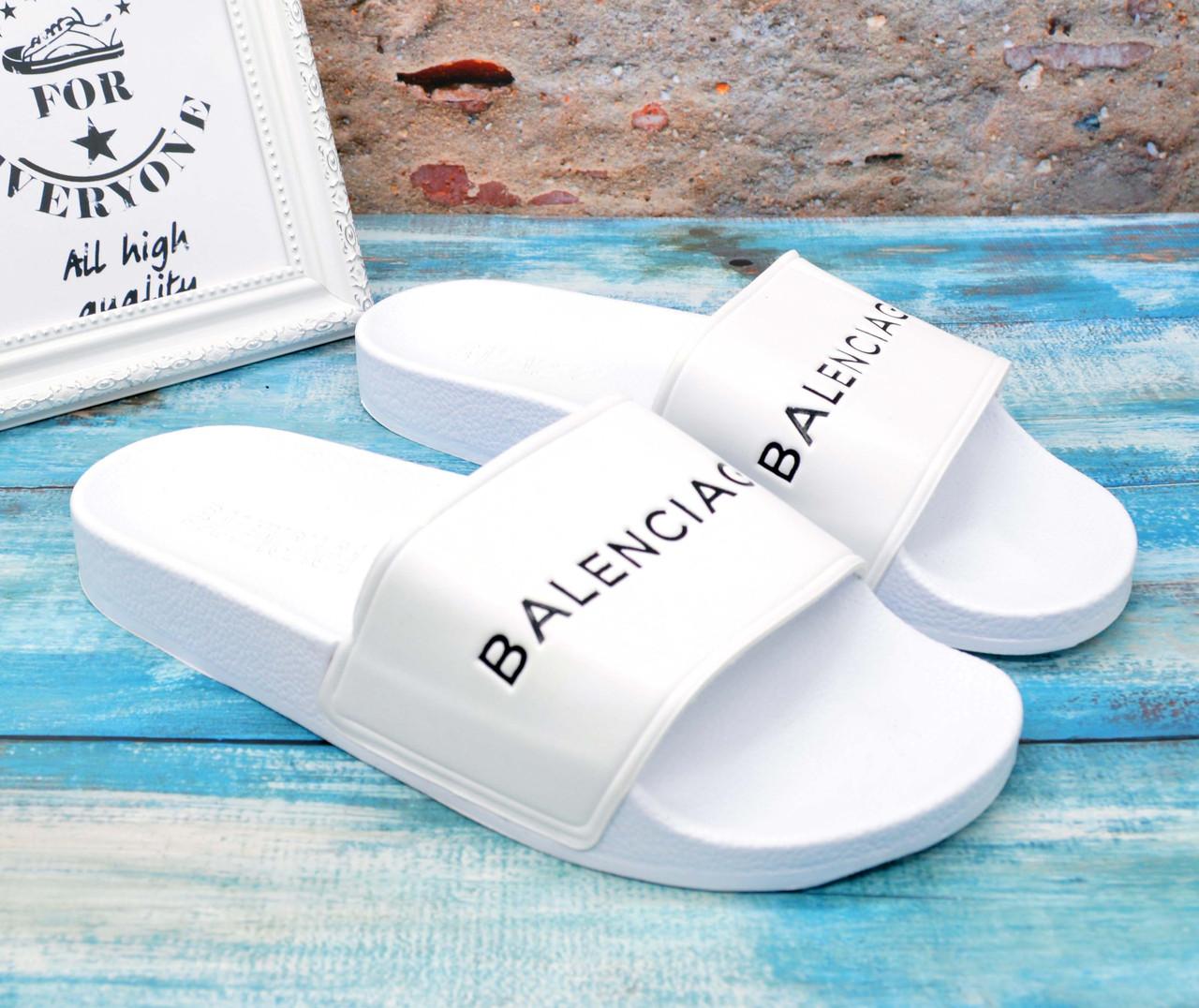✅ Мужские шлепанцы сланцы Balenciaga Баленсиага белые, фото 1