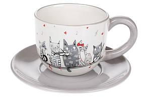 Чашка 240мл з блюдцем керамічна з об'ємним малюнком Нічна серенада, DM534-M