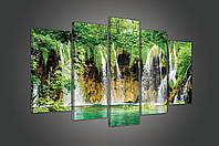 """Модульная картина на холсте """"Водопад в лесу"""" 2X20X40CM, 2X20X50CM,1X20X60CM (PS1518S17)"""