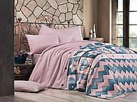 Комплект постельного белья (12076) двуспальное евро 200*220 (простынь на резинке) бязь Ранфорс, фото 1
