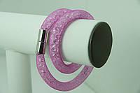 Летний розовый браслет из сетки с кристаллами Сваровки. 736
