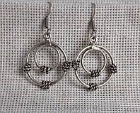 Серьги «два кольца» с оплеткой