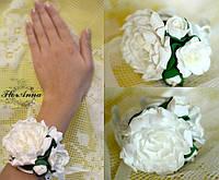 """""""Белые пионы"""" браслет на руку с цветами , фото 1"""