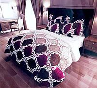 Комплект постельного белья (12083) двуспальное евро 200*220 (простынь на резинке) бязь Ранфорс , фото 1