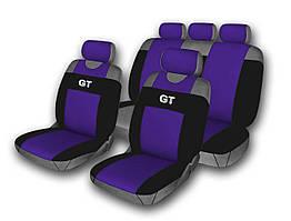 Комплект чехлов на сидения автомобиля (майки) 514-5 (9 предметов) темно-синий GT