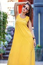 Летнее платье  хлопок размер S, M, L, XL цвет желтый чёрный коричневый и св/серый