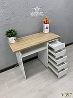 Однотумбовый маникюрный стол, стол с усиленной столешницей. Модель V397 белый / дуб сонома, фото 1
