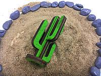 Микро декор декоративный кактус для муравьиной фермы (зеленая фанера, 5х3 см, разбирается как пазл)