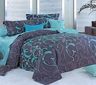 Комплект постельного белья (12114) двуспальное евро 200*220 (простынь на резинке) бязь Ранфорс