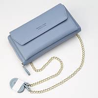 Клатч-портмоне женский 2в1 на ремешке голубого цвета опт