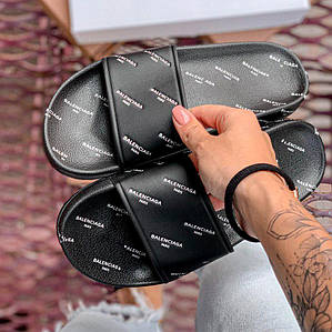 Сланцы женские и мужские Balenciaga черные с белой надписью, женские сланцы