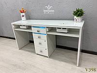 Маникюрный стол с мощными вытяжками и ультрафиолетом для 2х мастеров, Модель V398 белый, фото 1