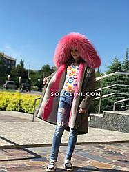 Парка на подростка с мехом енота-альбиноса, утеплитель-мутон