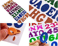 """Набор для творчества, """"Алфавит"""" наклейки из фоамирана в блёстках, высота букв≈38мм (32х16см размер уп-ки)"""