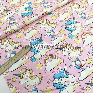 Ткань сатин хлопок единороги на розовом