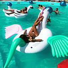 Надувной круг единорог, плот, белый единорог с крыльями, белый плотик для бассейна, фото 5