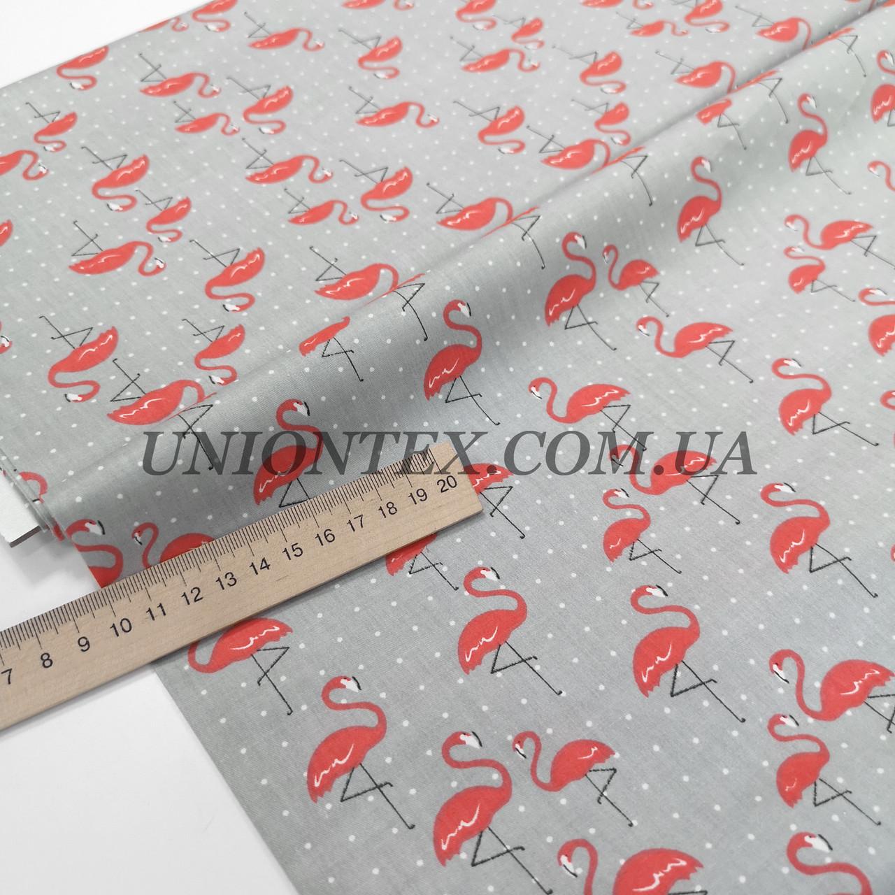 Ткань сатин хлопок фламинго на сером