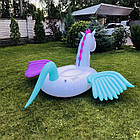 Надувной круг единорог, плот, белый единорог с крыльями, белый плотик для бассейна, фото 6
