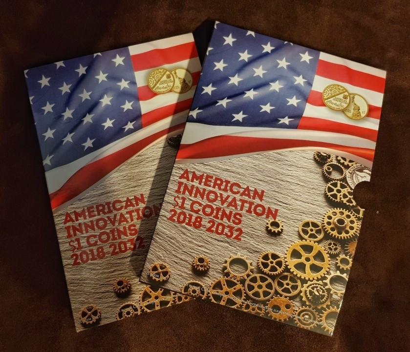 Капсульний альбом для монет серії «Винаходи Америки» у футлярі