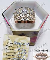 Серебряное кольцо с золотом и цирконом  Корона 1, фото 1