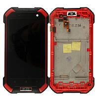 Дисплей з тачскріном і рамкою на Blackview BV6000 Червоний