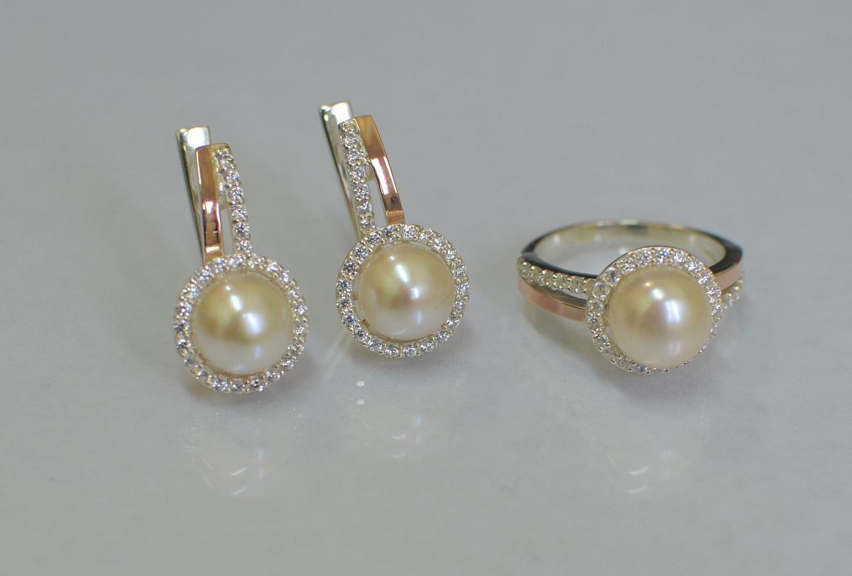 Серебряный комплект Silver Style с жемчугом