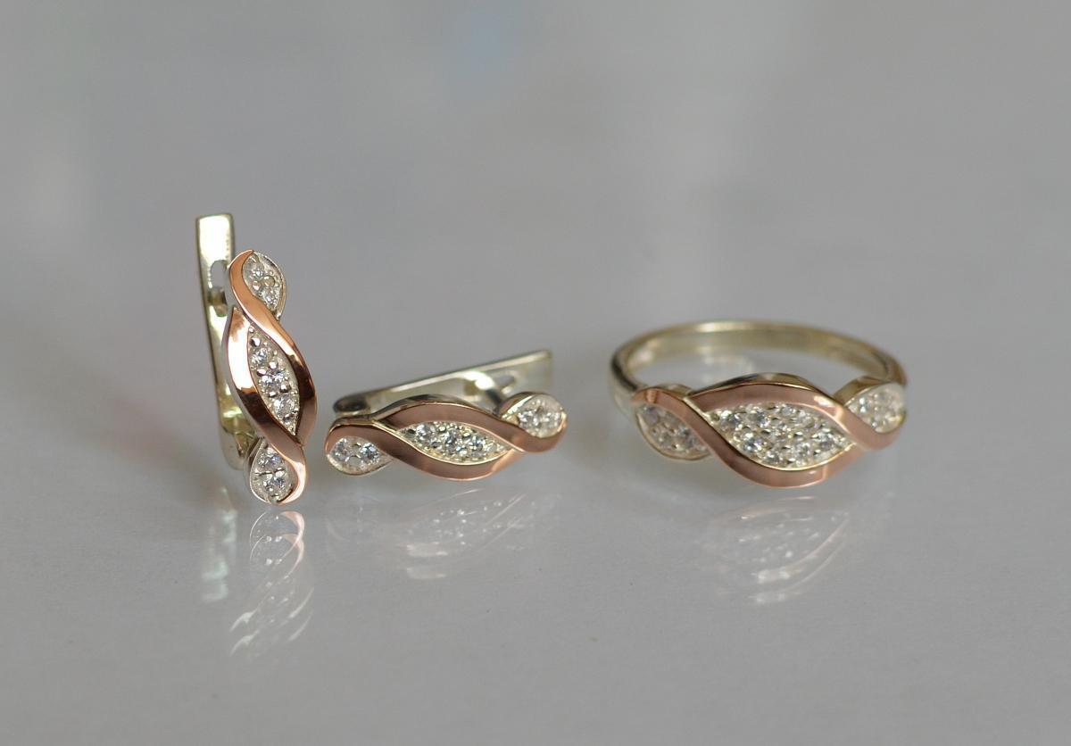 Серебряный набор Silver Style с золотыми пластинами