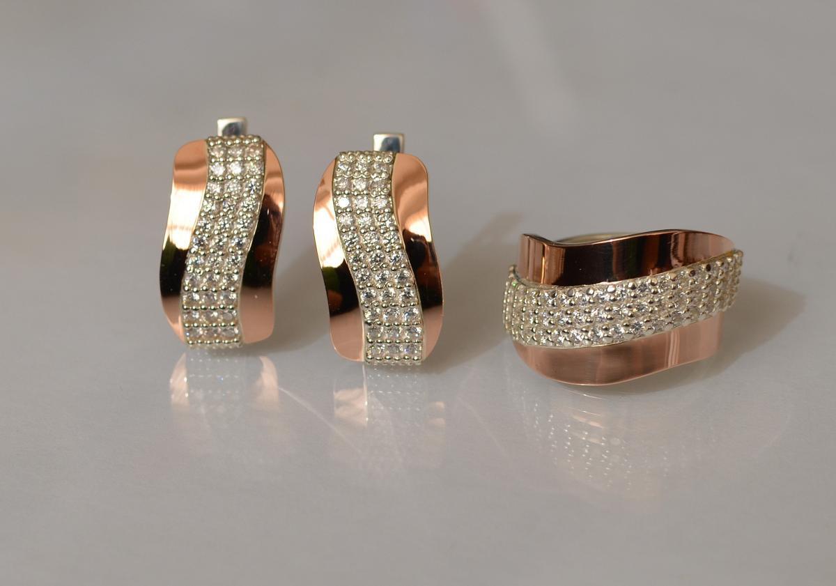 Серебряный гарнитур Silver Style с золотыми накладками