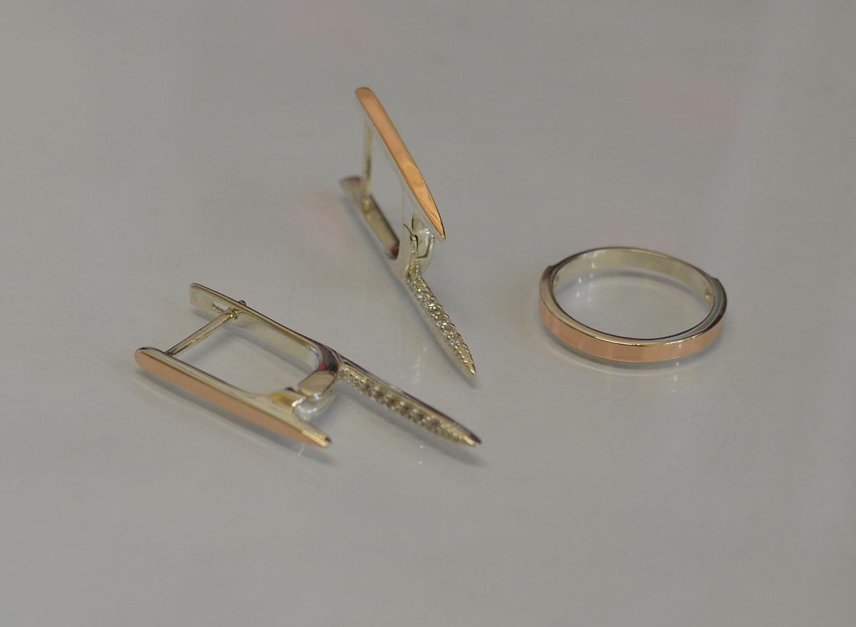Серебряный комплект Silver Style с золотыми вставками