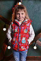 Жилетка с капюшоном р. 80-110 см девочка детский утеплён силиконом