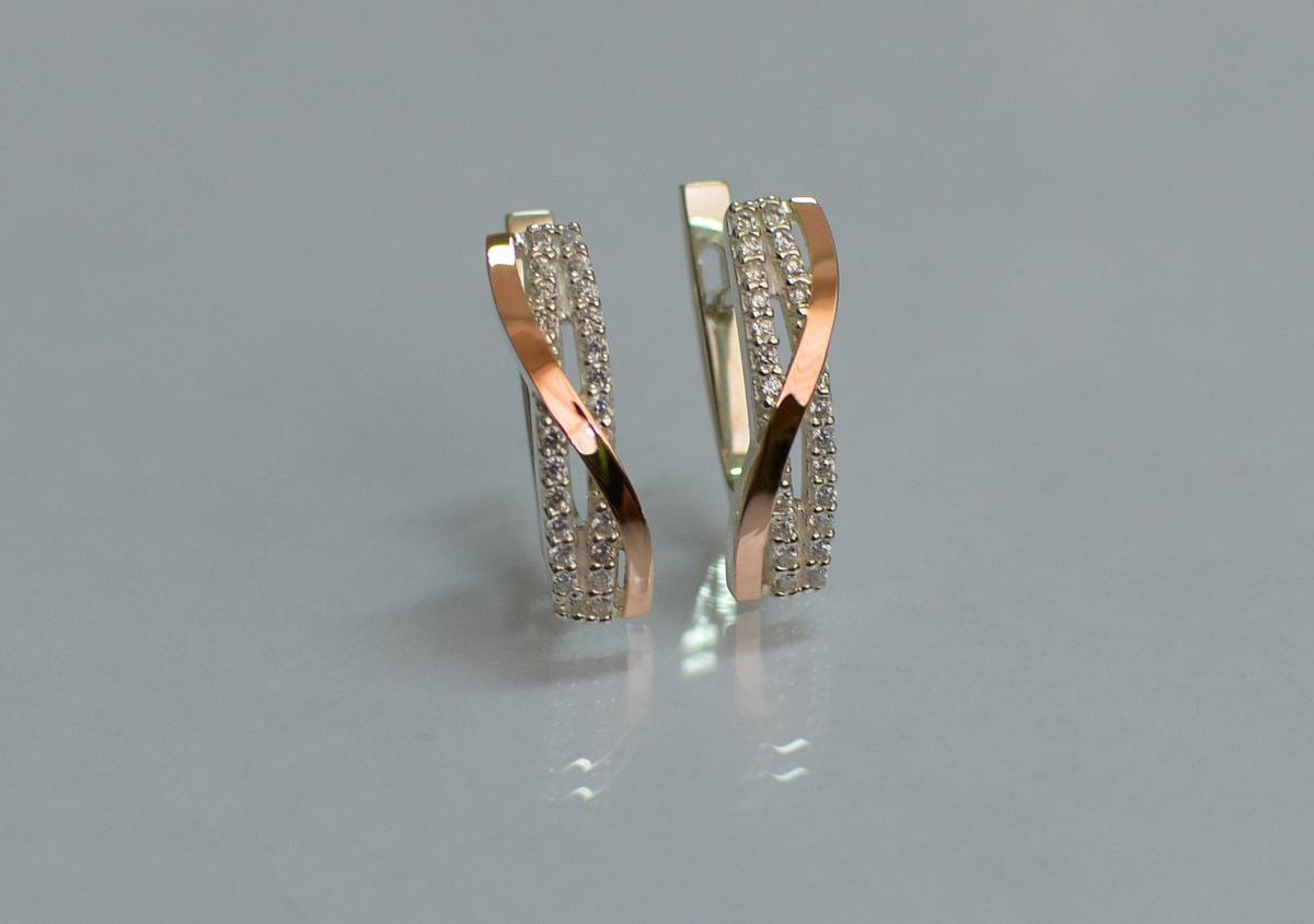 Серебряные серьги Silver Style с золотыми накладками