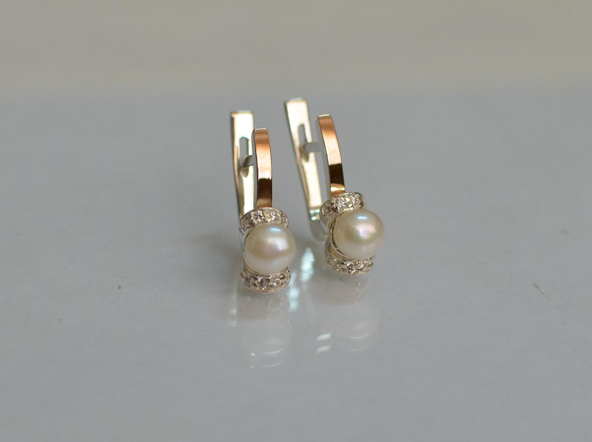Серебряные серьги Silver Style с золотыми пластинами