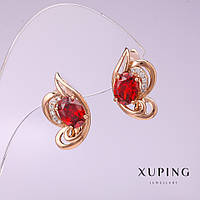 Серьги Xuping с красными камнями 18х10мм позолота 18к
