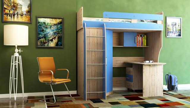 """На фото: детская кровать-чердак """"Лео"""" со столом и шкафом, в интерьере"""