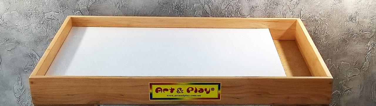 Планшет светодиодный с отсеком для песка мини 550×330 Ольха белый светодиод. А16