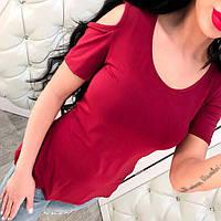 Футболка женская, стильная, красная 211-62, фото 1
