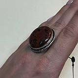 Обсидиан круглое кольцо с натуральным обсидианом в серебре размер 18 Индия!, фото 3