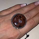 Обсидиан круглое кольцо с натуральным обсидианом в серебре размер 18 Индия!, фото 6