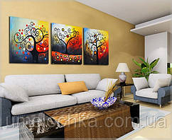 Картина по номерам  Триптих. Дерево счастьяТриптих 50 х 120 см(DZ259)