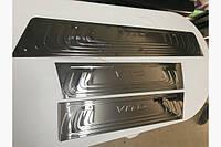 Mercedes Vito / V W447 2014↗ гг. Накладки на внутренние пороги Черный Хром (3 шт, нерж) - Mercedes Vito / V W447 2014+ гг.
