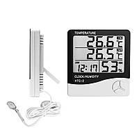 Годинник Термометр, Гігрометр з виносним датчиком HTC-2 White (2_003141)