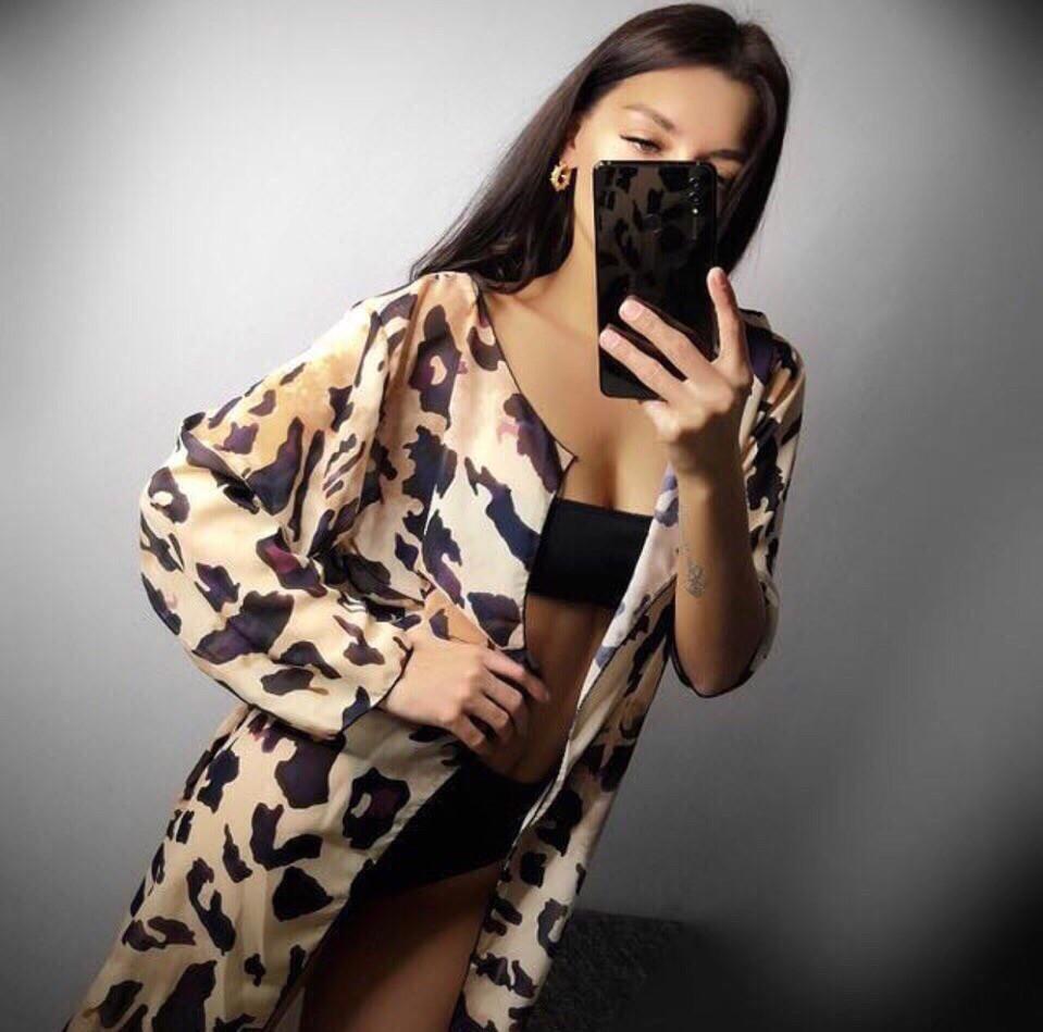 Леопардовая пляжная женская накидка