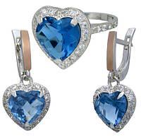 """""""Сердце Океана"""" - легендарные украшения серебряное кольцо и серебряные серьги с  фианитами"""