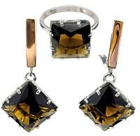 """Серьги и кольцо - стильный серебряный набор с золотыми накладками """"Джулия"""""""
